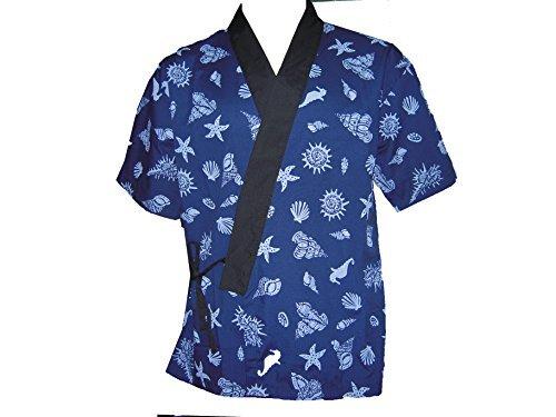 Blue Seashell Sushi Chef Uniform in Extra Large by Sunrise Kitchen Supply