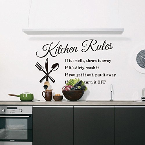 [Kitchen Rules Sticker Removable Vinyl Wall Decals Inspirational Letter Wall Art For Kitchen, Dining Room,14 X] (Animal That Starts With The Letter N)