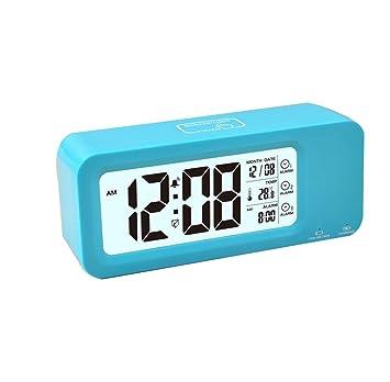 Reloj despertador digital recargable, Reloj digital Samshow con Temperatura / Fecha / 12 / 24h