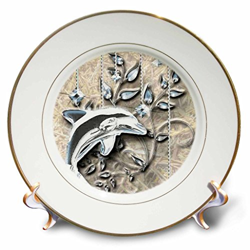 3dRose cp_150944_1 Silver Jeweled Dolphin and Silver Accents Porcelain Plate, 8-Inch