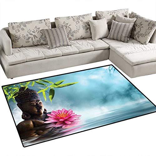 (Zen Meditation Decor Bath Mats Carpet Zen Waterlilly Flowers Spa Decor Nature Feng Shui Natural Calm Water Floral Door Mats for Inside Non Slip Backing 36