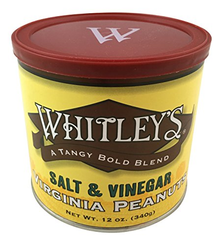 Whitley's Salt & Vinegar Virginia Peanuts - 12 Oz. Tin (Extra Large Peanuts Tin)
