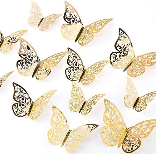 AIEX 24pcs three-D Butterfly Wall Stickers 3 Sizes Butterfly Wall Decals Room Wall Decoration for Bedroom Party Wedding Decors(Gold)