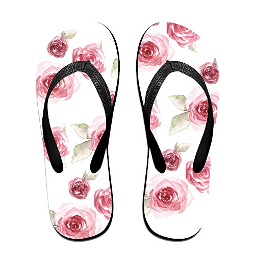 a2ae57a7794785 hot sale Stylish Beautiful Rose Floral Pattern Lightweight Women s Men s  Personalized Flip Flops Slippers