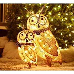 2 indoor outdoor lighted burlap owl family for Outdoor christmas figures