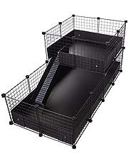 CagesCubes - C&C DELUXE kooi (Base 2X4 + Loft 2x2 - Zwart Paneel) + Zwarte Coroplast Base voor cavia's