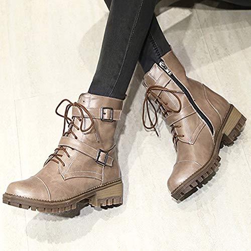 JiaMeng Mujer Invierno Boots Calentar Botas De Nieve Skidproof Felpa Algodón Acolchado Cuña Zapatos Plataforma con Cordones Antideslizante Punta Redonda ...