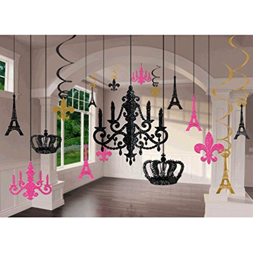 Amscan Party Supplies a Day in Paris Chandelier Decorating Kit 17Pc, Multi (Girly Party Decorations)