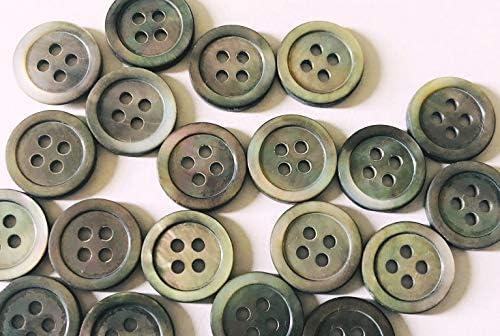 貝ボタン 黒蝶貝・高瀬貝 定番の117型 4穴 オリジナルシルキー加工(マットな消し加工)各サイズ20個セット SH-117K (黒蝶貝, 11.5mm 20個セット)