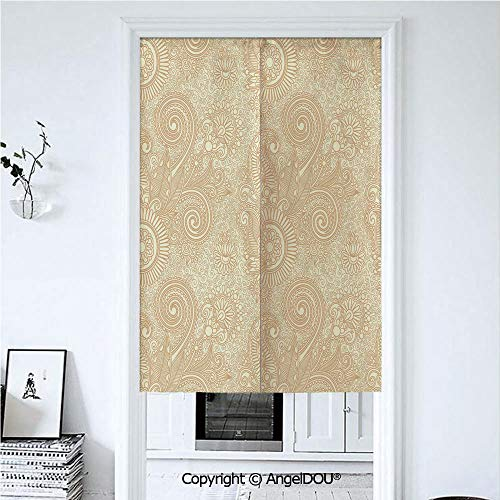 AngelDOU Henna Door Curtains Home Decor Modern Valances Retro Nature Revival Pattern with Lotus Mandala Inspired Elements Spirals Curls Decorative Room Divider for Bedroom Kitchen. 33.5x59 inches