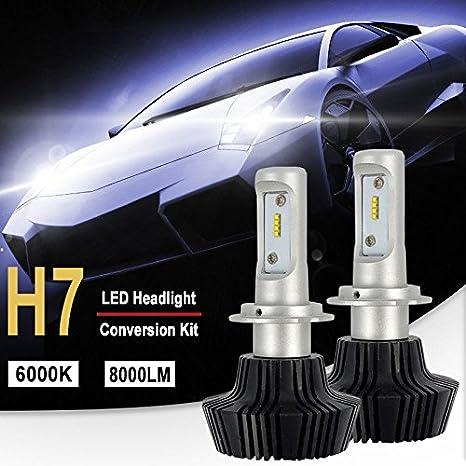 Bombilla H7 LED Coche, 10000LM Faros Delanteros Bombillas para Moto, Reemplazo de la Luz Halógena, 12V-24V, Xenon Blanco 6000K, 2 Lámparas: Amazon.es: Coche ...