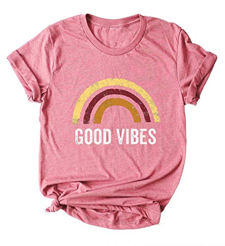 Tee Pink Vintage - Enmeng Womens Good Vibes T Shirt Casual Short Sleeve Vintage Good Vibes Rainbow Graphic Tees (M, Pink)