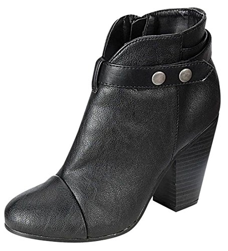 Breckelle's GAIL-22 Women's Belted Chunky Stacked Heel Ankle Booties Black ()
