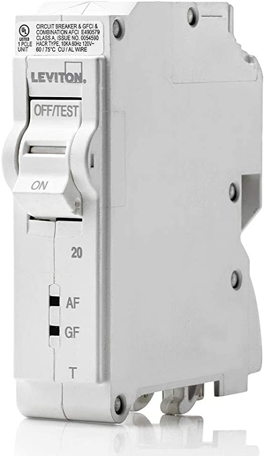 White Leviton LB115-DFT 15 Amp 1-Pole Plug-on AFCI//GFCI Branch Circuit Breaker 120 VAC