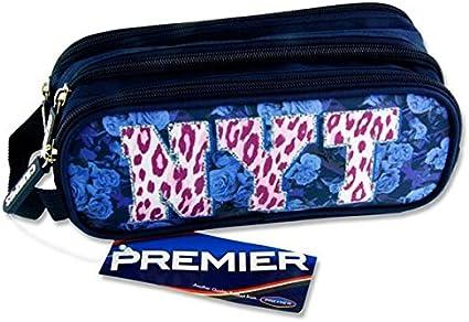 Premier Stationery C5616188 NYT - Estuche ovalado con 3 bolsillos y cremallera, diseño de leopardo: Amazon.es: Oficina y papelería