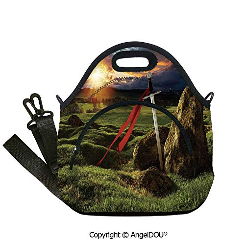 AngelDOU King Fashoniable Work Lunch Bags Arthur Camelot Legend Myth in England Ireland Fields Invincible Sword Image for Adults Kids Boys Girls.12.6x12.6x6.3(inch)