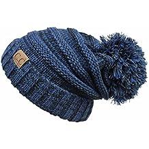 Hatsandscarf CC Exclusives Unisex Oversized Slouchy Beanie with Pom (HAT-6242POM)