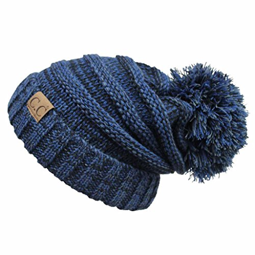 HATSANDSCARF CC Exclusives Unisex Oversized Slouchy Beanie with Pom (HAT-6242POM) (Navy Amazon) (Beanie Starter)