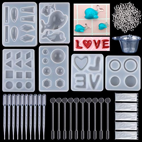- Resin Casting Molds, 146 Pcs Pendant Jewelry Casting Making Molds,Silicone Dolphin LOVE Ring,Screw Eye Pins,Disposable Plastic Cups,Stirrers,Droppers,Disposable gloves for Polymer Clay (146-Dolphin)