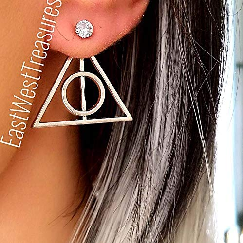 Large Silver Deathly Hallows earrings for women-Harry Potter Potterhead jewelry gifts-Steel