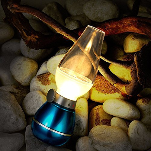 BearsFire USB Rechargable LED Blowing Control Kerosene Candle Lamp Nostalgia Retro Style LED 0.4W Adjustable Portable Night Light Desk Lamps Dimming Knob for Home Camping barbecue journey (Blue) by BearsFire (Image #7)