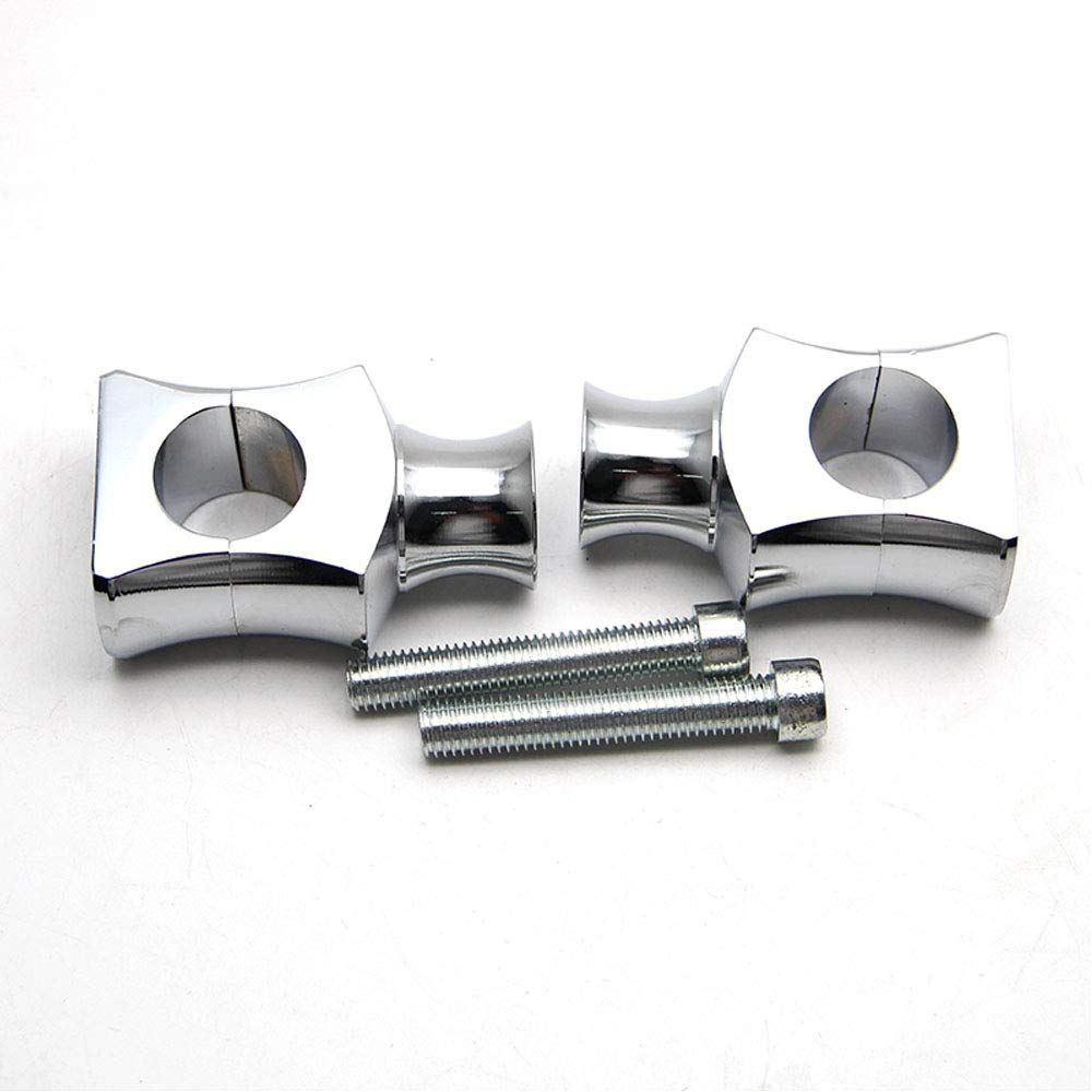 Black Black//Chrome Motorcycle CNC 7//8 22mm Handlebar Risers Bar Clamp Custom