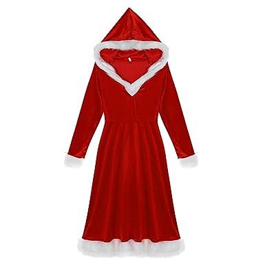 dPois Disfraz Miss Santa Navidad Vestido con Capucha Cosplay Traje ...
