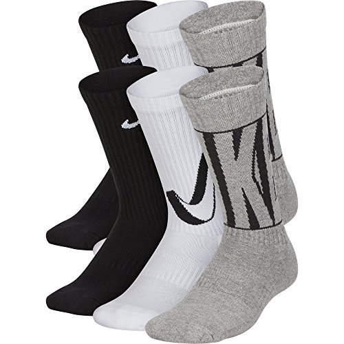 - Nike Kids' Everyday Cushion Crew Socks (6 Pairs), Black/White/Grey, Medium