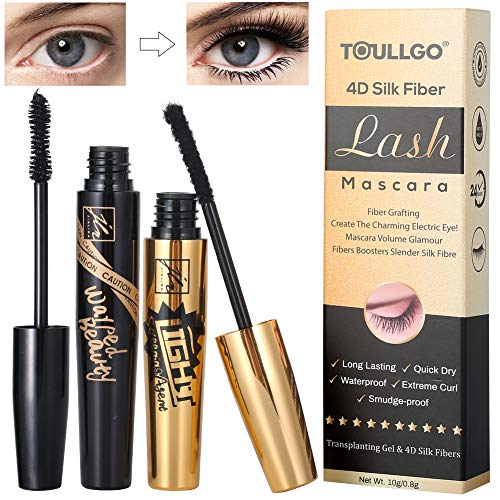 4D Silk Fiber Lash Mascara, Fiber Mascara, 4D Silk Fiber Eyelash Mascara Waterproof, Best for Thickening & Lengthening, Lasting All Day, Waterproof, Smudge Proof