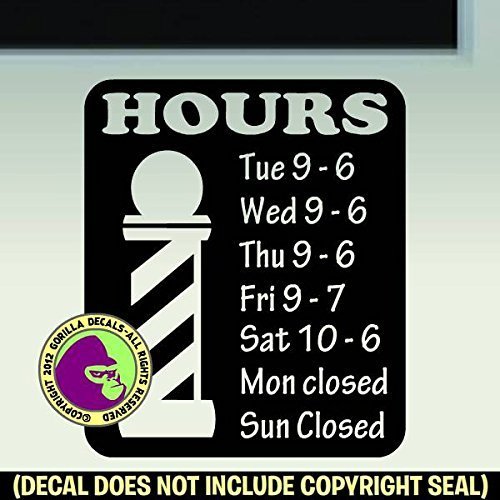 BARBER SHOP HOURS - Custom Text - Vinyl Decal Sticker - Mall Stores Cape