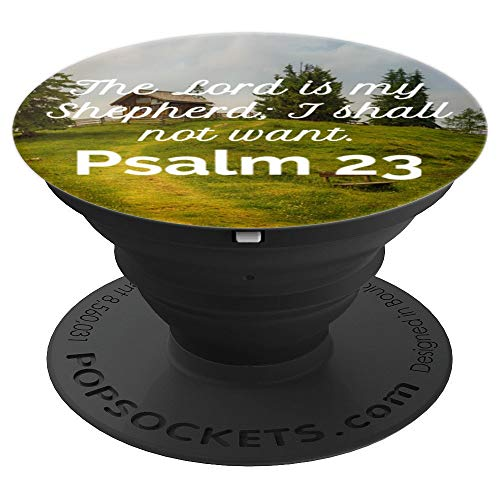 (Psalm 23 Christian Bible Scripture Green Pastures Design - PopSockets Grip and Stand for Phones and Tablets)