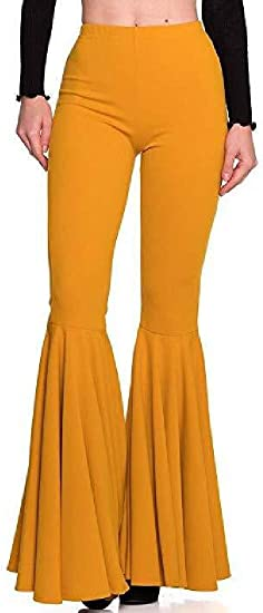 BYWX Women's Solid Color Wide Leg Pleated High Waist Flare Pants Bell-Bottom Flare Pants