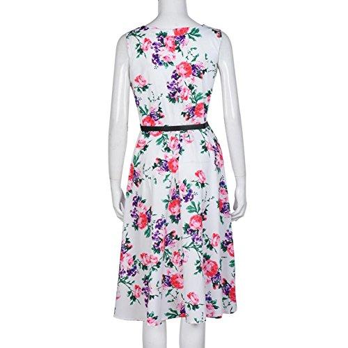 Women Sleeveless Dress, Misaky Flower Printing Vintage Dress With Belt (M, White)