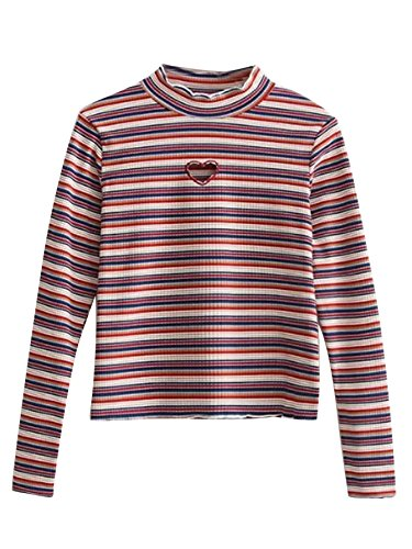 Milumia Women's Casual Striped Ribbed Tee Knit Crop Top Medium Multicolor (Heart Tee Striped)