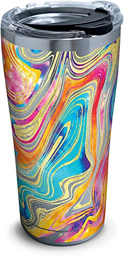 - Tervis 1287668 Tie Dye Swirl Stainless Steel Tumbler with Clear and Black Hammer Lid 20oz, Silver