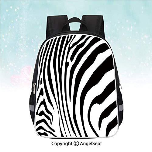 (Nylon Fabric Backpack,Zebra Animal Skin Pattern Nature Desert Life Theme Simple Stylish Illustration Decorative,13