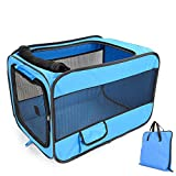 Large Pet Dog Carrier Soft-Sided Crate Kennel Portable Indoor/Outdoor Pet Home Soft Dog Crate Play Tent Blue Small
