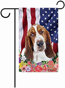 BAGEYOU American Flag with My Love Dog Basset Hound 4th of July Patriotic Decoraive Garden Flag for Outside Colorful Flowers Summer Home Decor Banner 12.5X18 Inch Printed Double Sided