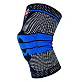 Old Bones Therapy Knee Sleeve Support - Compression Knee Brace for Sports, Arthritis, Joint Pain Relief and Injury Recovery (L, Black/Blue)