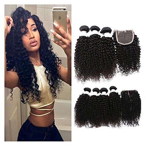 Etino Brazilian Curly Virgin Hair with Closure Unprocessed Brazilian Curly Virgin Human Hair Weave 3 Bundles with Lace Closure 4x4 Lace Top Closure (8'' 10'' 12''+8''closure) by Etino