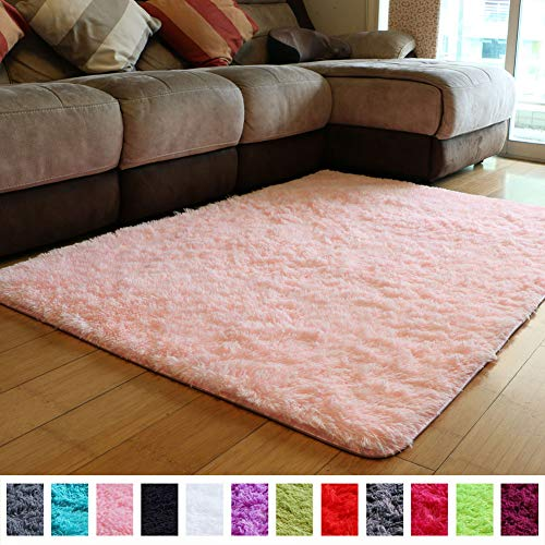 PAGISOFE Soft Girls Room Rug Baby Nursery Decor Kids Room Carpet 4′ x 5.3′,Pink