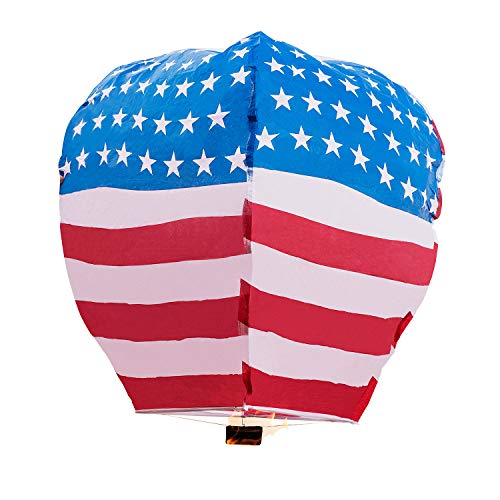 Battife Sky Lanterns Chinese Lanterns Stars and Stripes 5 Pack Biodegradable Paper Eco Friendly for New Year Party Vacation Holiday Release in Sky