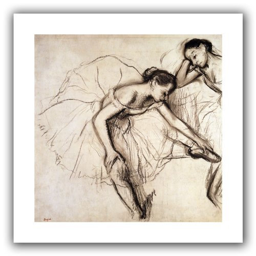 ArtWall 'Two Dancers Resting' Unwrapped Flat Canvas Artwork by Edgar Degas, 22 by 22-Inch