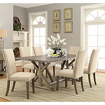 Amazon.com: Coaster Webber 7 Piece Dining Set in Driftwood and Beige ...