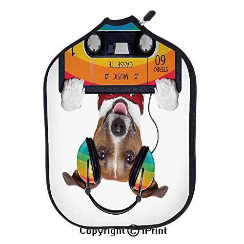 Background 3D Printed Decorative Neoprene Pickleball Paddle Racket Cover,Dog Listening to Music from an Old Cassette of the 80s Colorful Headphones Decorative(size:8.23
