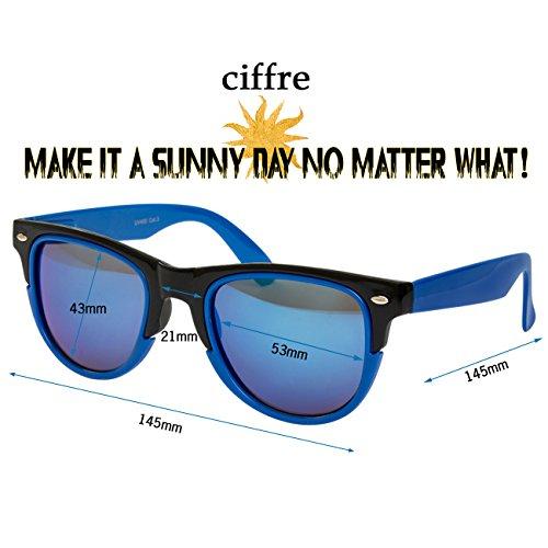 para Ciffre mujer UV®400 Nuevas Retro Nerd Vintage Azul2 hombre de Gafas clásico sol Negro SX1qHS