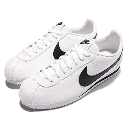 NIKE Men's Classic Cortez Leather, White/Black, 13 M US (Cortez White Mens Nike)