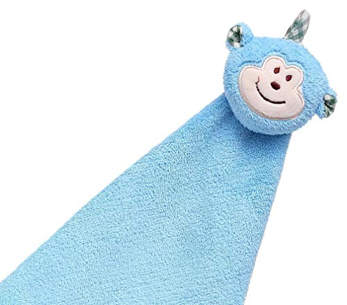 Kids Hand Towel With Hanging Loops -- Practical and Reusable | Soft, Absorbent, Fast Drying Child Friendly Cartoon Rag Keep Little Fingertips Clean in the Kitchen Bathroom Even the Car (Light Blue)