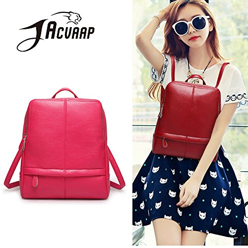 (JVP1059-K) Mochila de cuero de la mochila de las mujeres Mochila de cuero natural para niñas Mochila de moda impermeable de gran capacidad del bolso lindo Rosa Roja