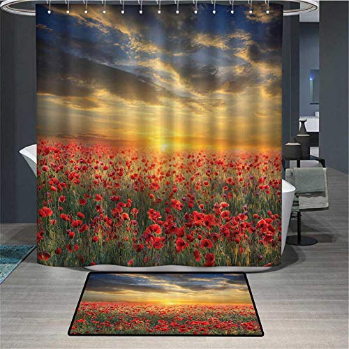 PINGYEHOME 2 Piece Scenic Field Sunset Skysc Shower Curtain Sets with Non Slip Rugs, Shower Curtain Waterproof with 12 Hooks for Girls Kids Bathroom -Shower Curtain/60 x L70 & Rug/23.6